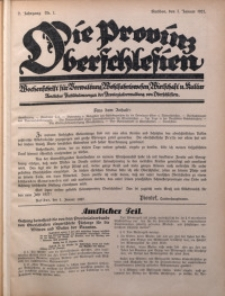 Die Provinz Oberschlesien, 1927, Jg. 2, Nr. 1