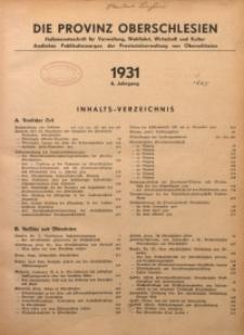 Die Provinz Oberschlesien, 1931, Jg. 6, Inhalts-Verzeichnis
