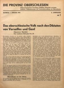 Die Provinz Oberschlesien, 1931, Jg. 6, Nr. 1