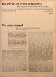 Die Provinz Oberschlesien, 1931, Jg. 6, Nr. 6