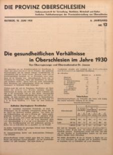 Die Provinz Oberschlesien, 1931, Jg. 6, Nr. 12