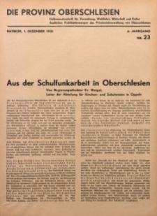 Die Provinz Oberschlesien, 1931, Jg. 6, Nr. 23