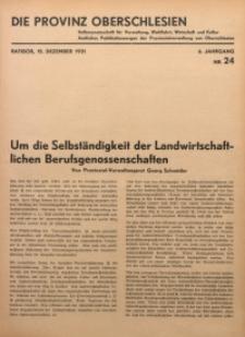 Die Provinz Oberschlesien, 1931, Jg. 6, Nr. 24