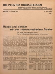 Die Provinz Oberschlesien, 1932, Jg. 7, Nr. 1