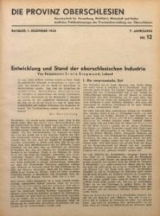 Die Provinz Oberschlesien, 1932, Jg. 7, Nr. 12