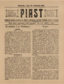 Piast, 25 kwietnia 1915