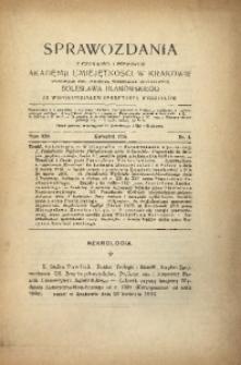 Sprawozdania z Czynności i Posiedzeń Polskiej Akademii Umiejętności, 1916, T. 21, Nr 4