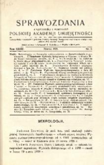 Sprawozdania z Czynności i Posiedzeń Polskiej Akademii Umiejętności, 1928, T. 33, Nr 3