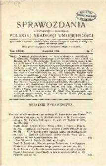 Sprawozdania z Czynności i Posiedzeń Polskiej Akademii Umiejętności, 1928, T. 33, Nr 4