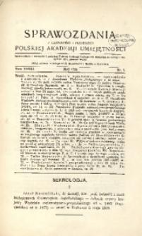 Sprawozdania z Czynności i Posiedzeń Polskiej Akademii Umiejętności, 1928, T. 33, Nr 5