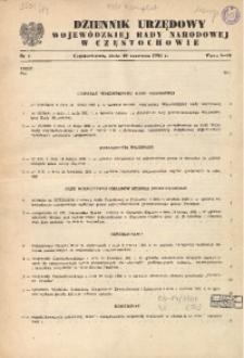 Dziennik Urzędowy Wojewódzkiej Rady Narodowej w Częstochowie, 1981, Nr 1