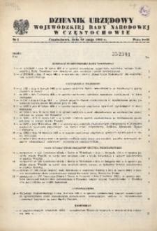 Dziennik Urzędowy Wojewódzkiej Rady Narodowej w Częstochowie, 1982, Nr 1