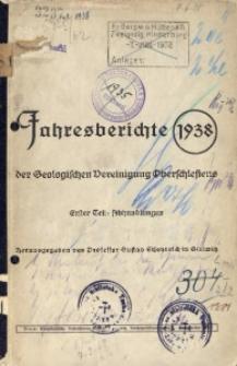 Jahresberichte der Geologischen Vereinigung Oberschlesiens, 1938, Teil 1
