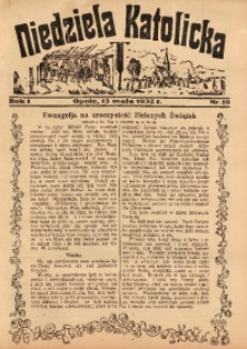 Niedziela Katolicka, 1932, R. 1, nr 19