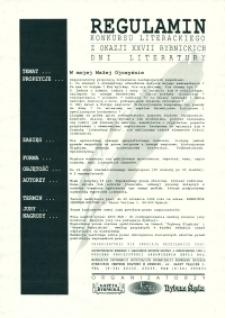 Afisz. Regulamin Konkursu Literackiego z okazji XXVII Rybnickich Dni Literatury