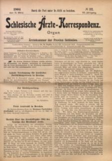 Schlesische Ärzte-Korrespondenz, 1903/1904, Jg. 7, No 12