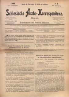 Schlesische Ärzte-Korrespondenz, 1904/1905, Jg. 8, No 1