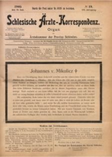 Schlesische Ärzte-Korrespondenz, 1904/1905, Jg. 8, No 19