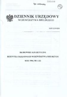 Dziennik Urzędowy Województwa Bielskiego, 1996, Skorowidz