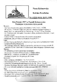 Nasza Kolonowska Rodzina Parafialna 1998, nr 1 (222).