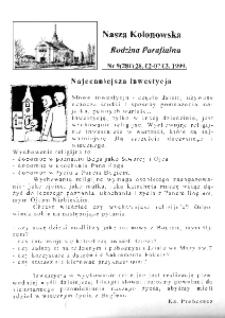Nasza Kolonowska Rodzina Parafialna 1999, nr 9 (281).