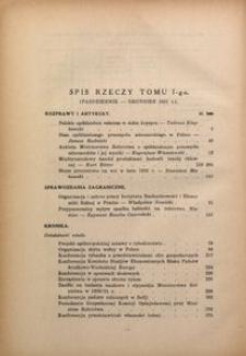 Spis rzeczy tomu 1-go (październik–grudzień 1931 r.)