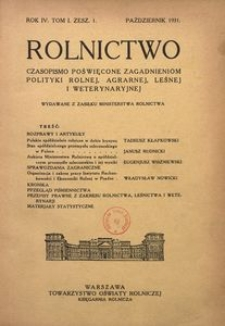 Rolnictwo, 1931, R. 4, T. 1, z. 1