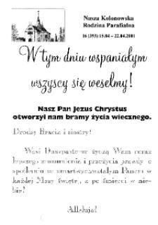 Nasza Kolonowska Rodzina Parafialna 2001, nr 16 (393) [392].