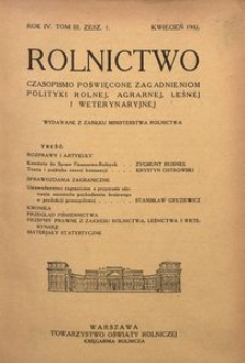 Rolnictwo, 1932, R. 4, T. 3, z. 1