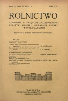Rolnictwo, 1932, R. 4, T. 3, z. 2
