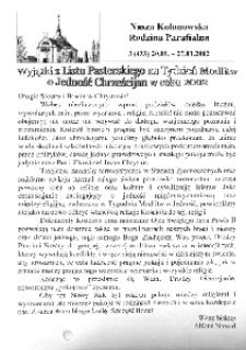 Nasza Kolonowska Rodzina Parafialna 2002, nr 3 (433).