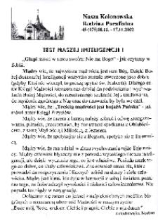 Nasza Kolonowska Rodzina Parafialna 2002, nr 45 (475).