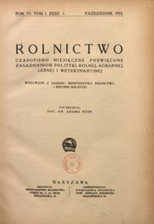 Rolnictwo, 1933, R. 6, T. 1, z. 1