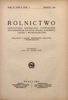 Rolnictwo, 1934, R. 6, T. 2, z. 3