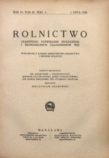 Rolnictwo, 1934, R. 6, T. 3, z. 1