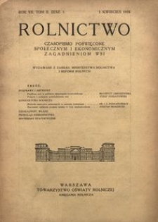Rolnictwo, 1935, R. 7, T. 2, z. 1