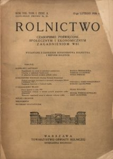 Rolnictwo, 1936, R. 8, T. 1, z. 2