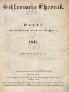 Inhalts-Verzeichniss der Schlesischen Chronik im Jahre 1847