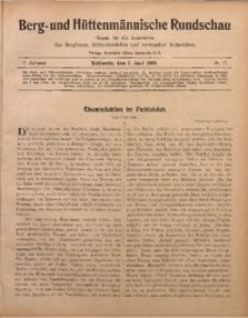Berg- und Hüttenmännischen Rundschau, 1908/1909, Jg. 5, Nr. 17
