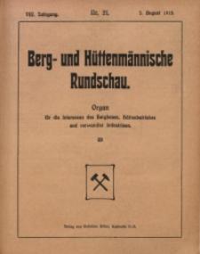 Berg- und Hüttenmännischen Rundschau, 1911/1912, Jg. 8, Nr. 21
