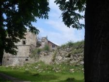 Brzeżany. Widok na ośmioboczną basztę zamku Sieniawskich.