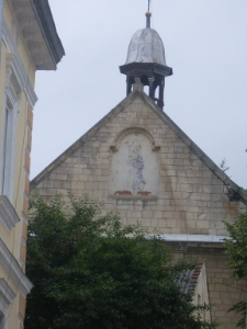 Brzeżany. Widok na fasadę cerkiwi ormiańskiej.