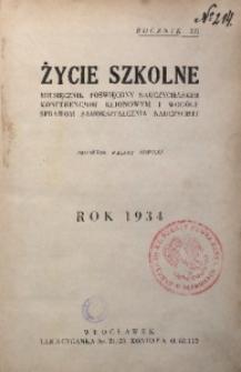 Życie Szkolne, 1934, R. 12, [Spis treści]
