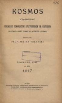 Kosmos, 1917, R. 42, Treść rocznika