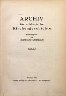Archiv für Schlesische Kirchengeschichte, Bd. 1