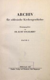 Archiv für Schlesische Kirchengeschichte, Bd. 2