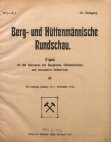 Inhaltsverzeichnis des 12. Jahrgangs der Berg- und Hüttenmännischen Rundschau