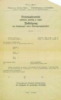 Wzór F. Plebiscyt na Górnym Śląsku. [Artykuł 25 i 26 regulaminu.] = Muster F. - Volksabstimmung in Oberschlesien. [Artikel 25 und 26 der Abstimmungsvorschriften.]