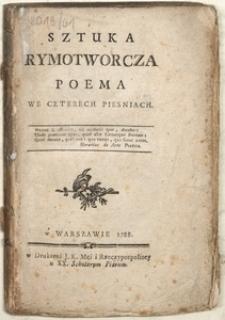 Sztuka Rymotworcza Poema We Czterech Piesniach