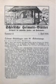 Schlesische Heimats-Blätter, 1907/1908, Jg. 1, Nr. 13